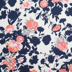Navy/White/Orange Floral Cotton Sateen Print - 2 yards