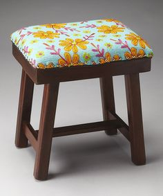 Look at this Yellow Floral Stool on #zulily today!
