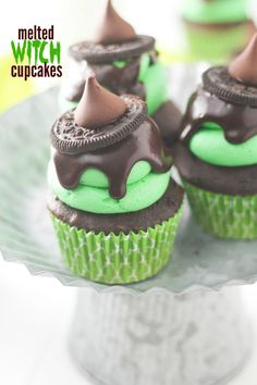 These Melted Witch Cupcakes are a fun twist on one of my most popular Halloween treats!
