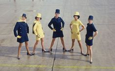 Lufthansa ladies striking a pose in the 70s.