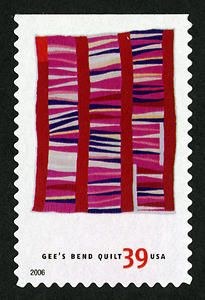 Bars and String-pieced Columns single  by Jessie T. Pettway. 39c USA quilt post stamp 2006