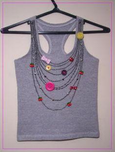 Jewellery For Lady - Fashion Details, Diy Fashion, Fashion Dresses, Fashion Tips, Shirt Refashion, T Shirt Diy, Cool T Shirts, Tee Shirts, Fabric Embellishment