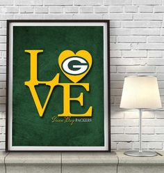 "Green Bay Packers ""Love"" ART PRINT, Sports Wall Decor, man cave gift for him, Unframed #packers #greenbay #favre #cheesehead"