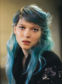 blue...loved the french film she was in. The younger gal was attracted to her because of her blue hair!