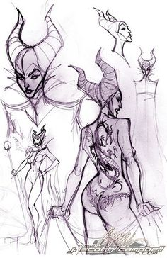 Maleficent sketches by *J-Scott-Campbell on deviantART ✤ || CHARACTER DESIGN REFERENCES | キャラクターデザイン | çizgi film • Find more at https://www.facebook.com/CharacterDesignReferences & http://www.pinterest.com/characterdesigh if you're looking for: bandes dessinées, dessin animé #animation #banda #desenhada #toons #manga #BD #historieta #sketch #how #to #draw #strip #fumetto #settei #fumetti #manhwa #cartoni #animati #comics #cartoon || ✤