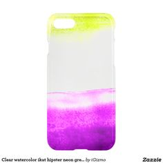 Purple and neon green pastel ikat watercolor hipster watercolour clear iPhone 7 case cover.