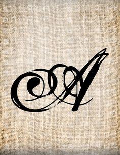Antique Letter A Script Monogram Digital by AntiqueGraphique, $1.00