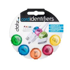 Dotz Cord Identifiers, Cord and Cable Management for Home and Office, 5 Count, Bright Colors (DCI101CO-CB) - Organizing Gifts and Supplies