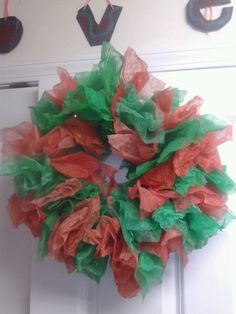 Christmas wreath out of used dryer sheets