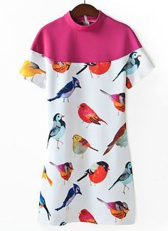 White Contrast Red Short Sleeve Birds Print Dress