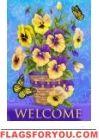 Pansy Pots Garden Flag House Flags, Flag Decor, Garden Flags, Pansies, Garden Pots, Butterfly, Garden Planters, Butterflies, Violets