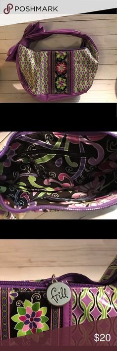 Vera Bradley Frill Purse Super cute Vera Bradley Frill Purse in Purple Punch All My Love pattern.  Easy to clean with a zip closure and three interior pockets. Vera Bradley Bags Hobos