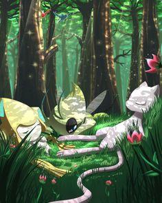 """Tranquility Forest by Winter-Wanderer.deviantart.com on @deviantART (Celebi, Jirachi, Mew, Latios & Latias)"""