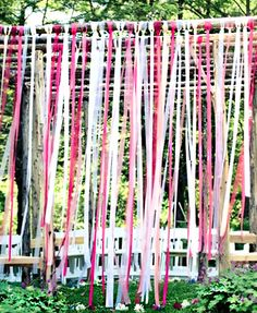 Ceremony backdrop with ribbon streamers