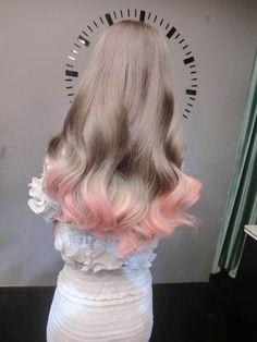 Ash Hair With Pink Endings
