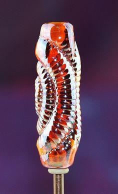 Old Gold Ammonite Iridescence Handmade Lampworked Glass Bead