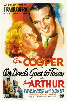 """Mr. Deeds Goes to Town"" (1936). Country: United States. Director: Frank Capra. Cast: Gary Cooper, Jean Arthur, George Bancroft, Lionel Stander, Raymond Walburn, H.B. Warner, Douglas Dumbrille"