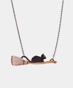 Wooden Broom Cat necklace - Hey Chickadee