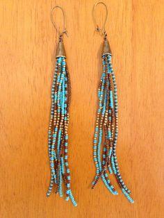 Long Turquoise Should Duster Earrings by WanderlustSoulArt on Etsy, $25.00
