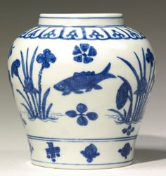 A BLUE AND WHITE 'FISH' JAR JIAJING MARK AND PERIOD - Sotheby's