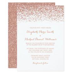 #chic - #Modern Faux Rose Gold Glitter Wedding Invitations