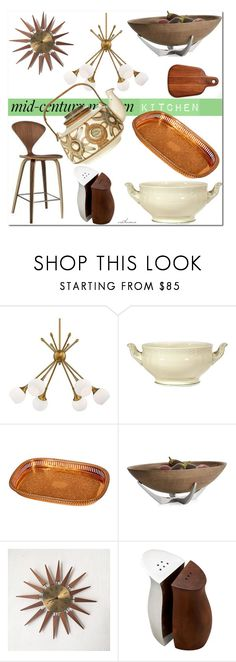 """""""Mid Century Modern Kitchen"""" by arethaman ❤ liked on Polyvore featuring interior, interiors, interior design, home, home decor, interior decorating, Design Within Reach, George Kovacs by Minka, Nambé and kitchen"""