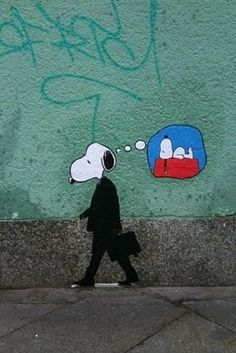 Snoopy Going to Work by Banksy Graffiti Street Art Beautifull Wall Hanging your Family will love Vintage Decor Art Prints Wall hanging art art graffiti art quotes Banksy Graffiti, Graffiti Kunst, Street Art Graffiti, Bansky, Land Art, Street Art Artiste, Urbane Kunst, Amazing Street Art, Street Art Love