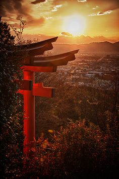Torii and the view of Kyoto
