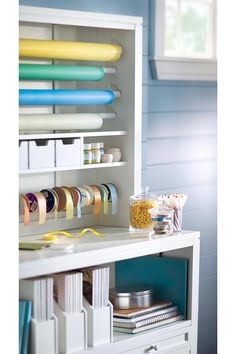 Make gift wrapping easy and fun with the Martha Stewart Living Craft Space Gift-Wrap Hutch!