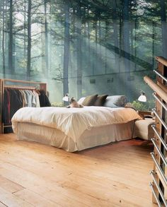 Bedroom style. The wall looks exactly like the one from the Hunger Games movie when Katniss changes it's theme to the woods!