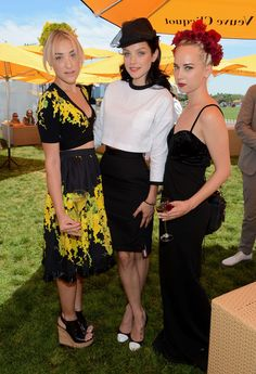 Mia Moretti, Jessica Stam and Caitlin Moe at the Fifth Annual Veuve Clicquot Polo Classic - VIP Marquee