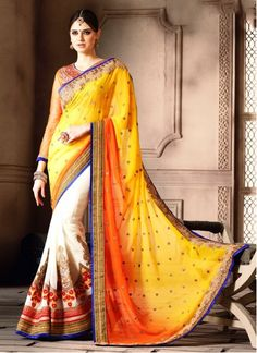 http://www.maplefashions.com/sarees/exuberant-bamber-georgette-off-white-and-yellow-embroidered-work-designer-saree-24693#.VsGUQbR97IV  Exuberant Bamber Georgette Off White and Yellow Embroidered Work Designer Saree  Style:Designer Saree Fabric:Bamber Work:Embroidered, Patch Border Work, Resham Work, Zari Work Color:Yellow, Off White Occasion:Wedding, Festival, Reception