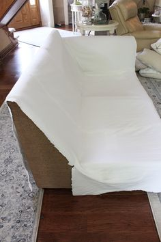 How to make a sectional slipcover, step-by-step with Confessions of a Serial Do-it-Yourselfer Drop Cloth Slipcover, Armchair Slipcover, Slipcovers For Chairs, Chair Cushions, Diy Furniture Plans, Furniture Upholstery, Furniture Makeover, Furniture Design, Sectional Couch Cover