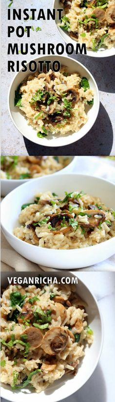 Instant Pot Mushroom Risotto. Easy Vegan Mushroom Risotto made in Instant Pot Pressure cooker. 1 Pot, no standing in the kitchen needed. Saucepan option. #Recipe #soyfree #nutfree #vegan #glutenfree #veganricha #instantpot #pressurecooker | VeganRicha.com