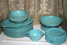 26 Piece Boonton Ware Dishes//Turquoise Melmac Dishes//Vintage Boonton Ware by TresorsJeAmour on Etsy https://www.etsy.com/listing/293903559/26-piece-boonton-ware-dishesturquoise