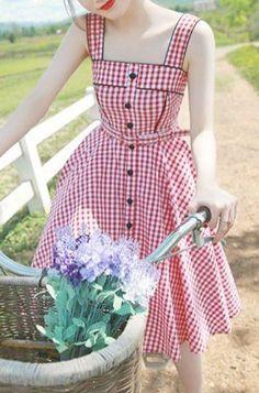 Sweet Square Neck Tiny Red Plaid Printed Flare Midi Dress For Women Vintage Dresses Vintage 1950s Dresses, Vestidos Vintage, Retro Dress, Vintage Outfits, Vintage Summer Dresses, Vintage Dress Patterns, Retro Mode, Mode Vintage, Vintage Lace
