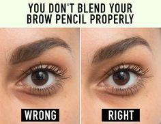An easy way to fill in your brows is by drawing a line (at an angle) under your eyebrow at its start with a brow pencil, and then using a spoolie brush to diffuse it up into your brow.