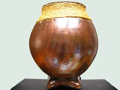 New #Raku #Vase with Decorative Twine and Footed Base, Copper-Bronze, Studio Made by #thetwistedredhead @TwistedRedhead2