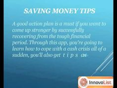 """Discover the most ultimate 101 ways to save money and learn how to make more money without going into debt during a tough financial period with the help of this amazing app """"Found Money"""". The app shows you how you can save emergency money and deal with financial stress and family during bad times. http://innateapps.com/FoundMoney.php"""