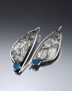 Jewelry OFF! Fused Foliage Earrings with Opals by Jan Van Diver - (Silver Stone Earrings) Charm Jewelry, Jewelry Art, Jewelry Design, Jewelry Ideas, Women Jewelry, Jewellery, Stone Earrings, Silver Earrings, Silver Ring