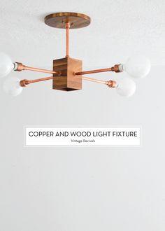 DIY copper + wood light fixture