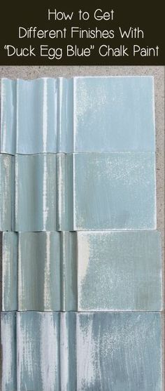 There are a few ways to vary the sheen and finish of duck egg blue Annie Sloan chalk paint. Its a very popular color and it looks great, but if you wonder what different finishes will look like, here are some samples to look at. I sanded each one until
