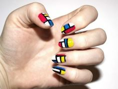 Easy tutorial showing how you can create this Piet Mondrian inspired nail art!