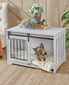 New Pet Crate End Table Wooden Furniture Dog Kennel Cage Wood Doghouse Country Decor. Portable Dog Kennels, Dog Playpen, Pet Kennels, Crate End Tables, Dog Crate Table, Dog Crate Furniture, Wooden Furniture, Cheap Furniture, Discount Furniture