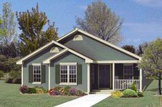 <ul><li>Gabled front adds interest to this cottage house plan's facade. </li><li>Living and dining rooms share a vaulted ceiling. </li><li>Master bedroom features a walk-in closet and private bath. </li><li>Functional kitchen with a center work island and convenient pantry.</li></ul>