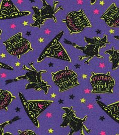 Holiday Inspirations Halloween Fabric - Witches On Purple Glitter
