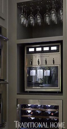 The stainless steel, temperature-controlled Discovery WineStation can hold and dispense up to four regular or magnum sized bottles of wine and preserve them for up to 60 days. Napa Valley, Rustic Kitchen, New Kitchen, Kitchen Decor, Küchen Design, House Design, Wine Station, Wine Dispenser, Wine Storage