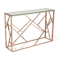 Hire rose gold condole tables with asymmetric design from Funky Furniture. With a glass top & gold stainless steel frame it's ideal for VIP lounges. Steel Furniture, Funky Furniture, Home Furniture, Furniture Design, Furniture Removal, Or Rose, Rose Gold, Small Console Tables, Steel Table