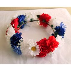 Red White and Blue Flower Crown, July 4th Headpiece, Cute Red White... (£19) ❤ liked on Polyvore