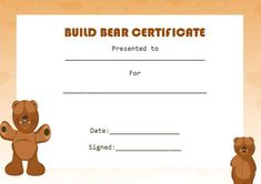 15 Best Build A Bear Certificate Template Images Build A Bear